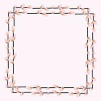 Rectangular frame with willow twigs. vector