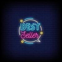 best seller letreros de neón estilo vector de texto