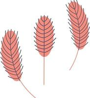 pluma de pájaro aislada en un fondo blanco. pluma de pollo o de ganso. diseño para pascua, navidad, postales, pegatinas. ilustración vectorial plana vector