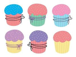 Easter cakes set. Cute Easter cupcake. Design for Easter, Birthday, Holidays. Vector flat illustration