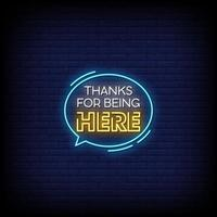Thanks For Being Here Neon Signs Style Text Vector