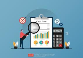 Cash flow statement concept with calculator and graph document symbol illustration. vector