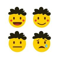 conjunto de iconos de emoticonos planos para redes sociales o aplicaciones.