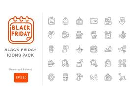 Black friday icon pack  line style vector
