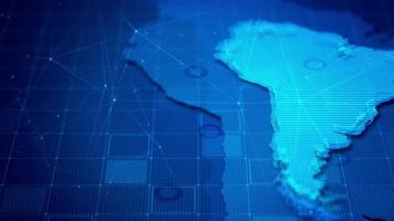 Digital South America Cyber Map Background video
