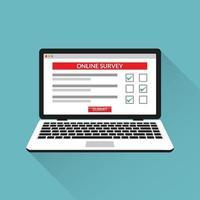 Cuestionario de lista de verificación de encuesta en línea en la ilustración de vector de pantalla de computadora portátil.