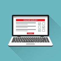 Online survey checklist questionnaire on laptop screen vector illustration.