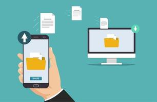 File transfer concept. Hand holding smartphone transferring folder and files to computer vector illustration.