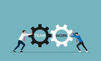 Business team work concept. Businessmen pushing gears wheel vector illustration.