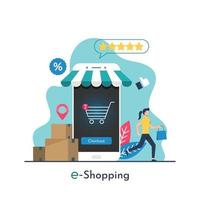 e-shopping concept with tiny woman character purchasing items from smartphone vector illustration.