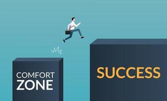 carácter empresario dejando la zona de confort para lograr el concepto de éxito. crecimiento en la ilustración de símbolo de trayectoria empresarial y profesional. vector