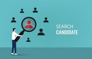 Searching candidate concept with businessman holding magnifier symbol vector illustration.