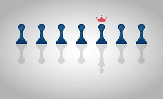 Leadership concept with group of chess pawn pieces with one piece casting a shadow of a king vector illustration.