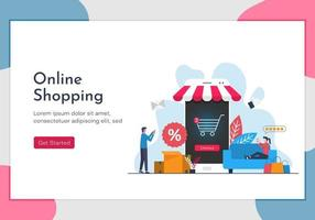 Online shopping concept with people character using their gadget to shops. Landing page template of a lifestyle illustration. vector