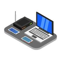 Isometric Office Desk Icon On White Background vector