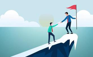 Business concept leadership and teamwork. Leader help other to climb the cliff to reach the goal vector illustration.