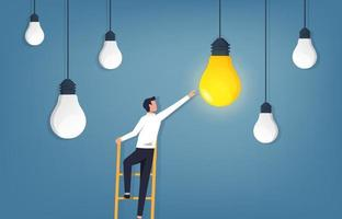 Idea concept. Businessman climbing ladder and reaching light bulb vector illustration.