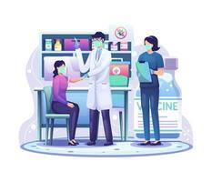 Doctor in a clinic giving Covid-19 coronavirus vaccine to a woman for immunity health concept vector illustration