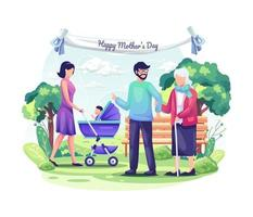 People Celebrate Mother's Day with their children and family. vector illustration