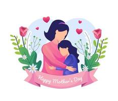 Mother and her daughter are hugging. Happy Mother's Day Greeting vector illustration