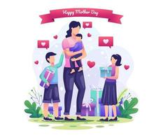 Children give gifts to their mothers. Happy Mother's Day Greeting vector illustration
