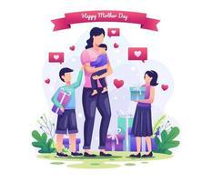 los niños dan regalos a sus madres. feliz día de la madre saludo ilustración vectorial vector