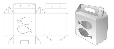 Handle packaging box with fishes shaped window die cut template vector