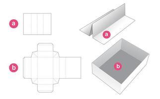 bandeja rectangular con plantilla troquelada de partición insertada vector