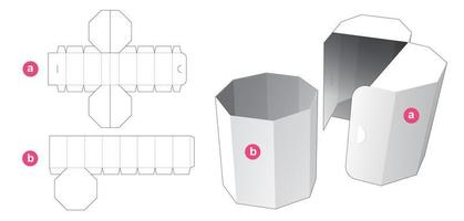Octagonal box with flip cover die cut template vector