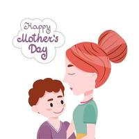 Mom With Little Son And Lettering Happy Mothers Day Cartoon Cute Vector Illustration.