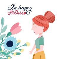 mujer joven con un ramo de flores y letras ser feliz mamá. linda ilustración vectorial. estilo de dibujos animados vector