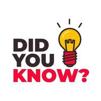 Did you know with bulb icon. vector