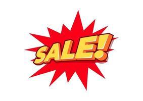 venta texto 3d, etiqueta de venta, signo de letras 3d de venta. vector