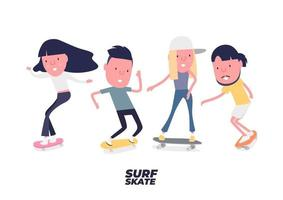 Skateboarder set. Young Boy and girl surf on skateboard or surf skate. People on skates. Funny cartoon character. vector
