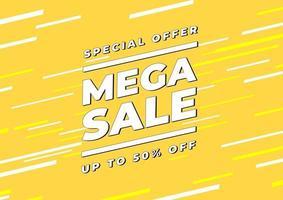 Mega sale banner template design, Big sale special offer. end of season special offer banner. vector