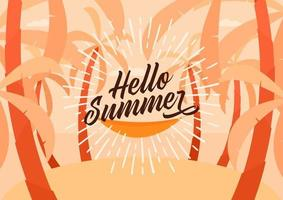 Hello Summer. Tropical island with palm trees background. vector