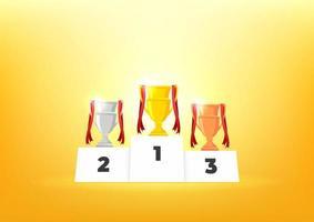 podio de ganadores con copas. premios para los campeones. Copas de oro, plata y bronce. vector