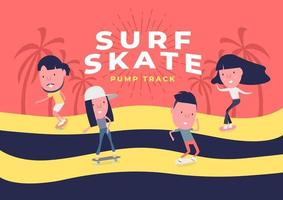 Young Boy and girl surf on skateboard or surf skate. People on skates on pump track background. Funny cartoon character. vector