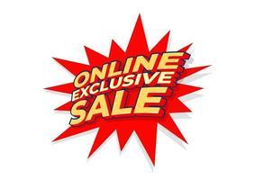 etiqueta de venta exclusiva en línea, plantilla de diseño de póster, etiqueta de descuento aislado, vector. vector