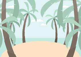 Tropical island with palm trees background. vector