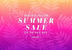 Special offer Summer sale 50 percent off banner. Tropical gift voucher, discount coupon template. vector