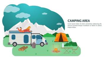 Banner for the design of a summer camping a tourist car a house on wheels stands near a fire against the background of mountains a girl lies on the roof vector flat illustration