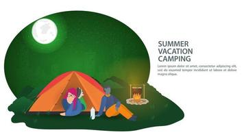 Banner for the design of a summer camping a girl lies in a tourist tent and a guy is sitting next to a campfire against the background of a night city vector illustration