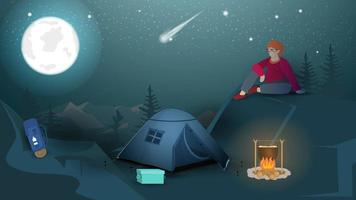 Banner for the design of summer camping a man sits at night in the mountains next to a tourist tent and a campfire looks at the night moon vector flat illustration
