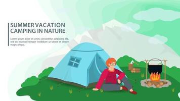 Banner for design summer camping in nature a man is sitting near a campfire next to a tent on the background of mountains flat vector illustration