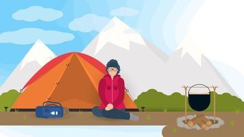 Banner para el diseño de campamentos de verano en la naturaleza, una niña está sentada de rodillas cerca de una tienda turística en el contexto de las montañas ilustración vectorial plana vector