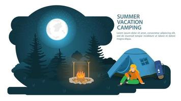 Banner for the design of summer camping in a clearing in the forest there is a tourist tent next to a person sitting and resting against the background of the night moon sky vector flat illustration
