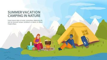 Banner for the design of summer camping in nature a guy and a girl sit next to a campfire near a tourist tent against the background of mountains flat vector illustration