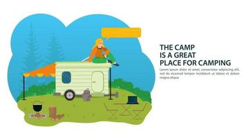 Banner for the design of summer camping a vacationer sits on the roof of a tourist car house trailer on the background of nature vector flat illustration