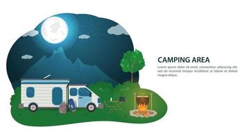 banner para el diseño de campamento de verano un automóvil turístico una casa sobre ruedas cerca de una fogata en el contexto de montañas nocturnas con la ilustración plana de vector de luna